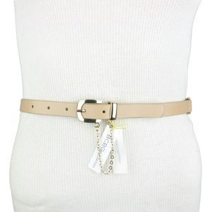 BCBG Beige Gold Metallic Chain Faux Leather Belt